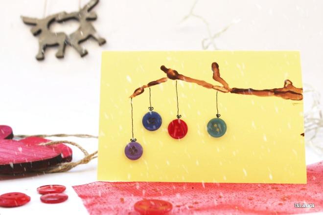 Come fare biglietto di Natale  d'auguri con rametto di legno e bottoni
