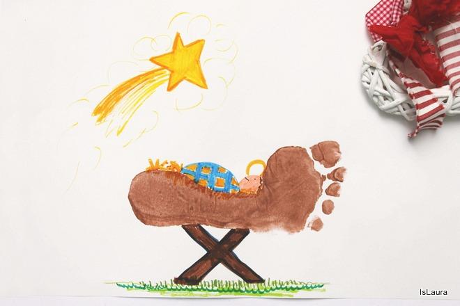 Come realizzare biglietto di Aguri Natale con impressione piedi mangiatoia Gesù bambino