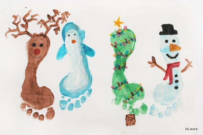 Come realizzare personaggi di Natale con i piedini tempere per biglietti auguri