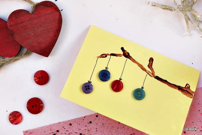 Tutorial biglietto di Natale auguri con rametto di legno e bottoni