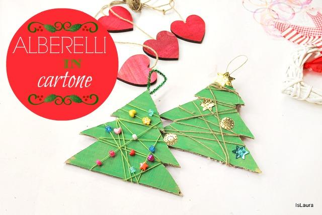 alberi di Natale in cartone filo di lana perline e strass