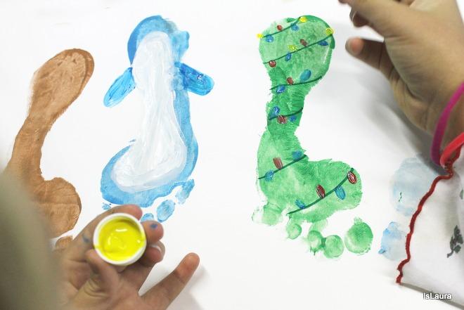 passaggi come realizzare personaggi di Natale con i piedini