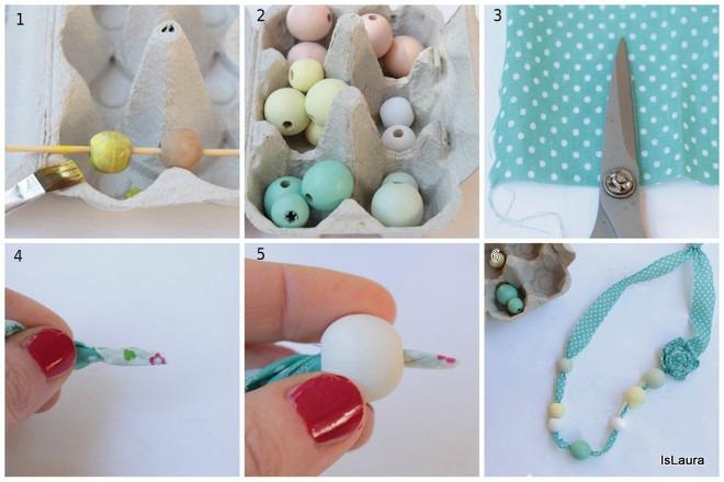 Super Festa della mamma: collana di stoffa e perle | Mamma Felice VI94