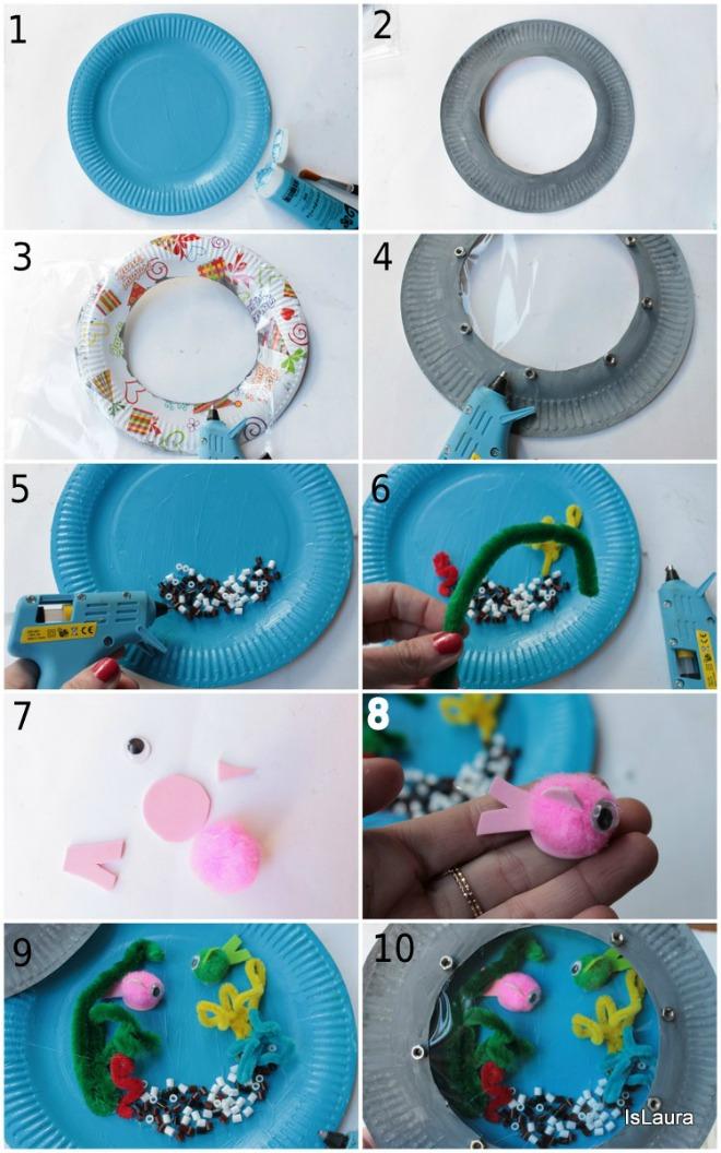 Fondale marino con piatti di carta riciclati mamma felice for Fondo marino da colorare