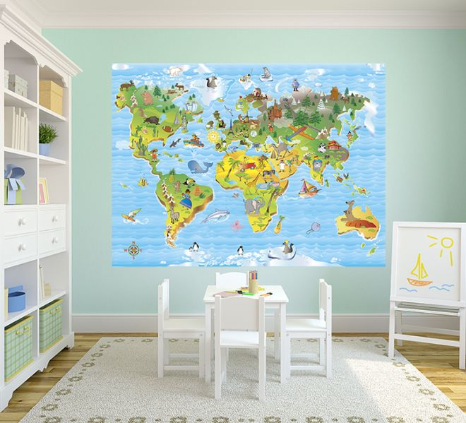 Arredare e rinnovare la cameretta mamma felice for Carta parati mondo