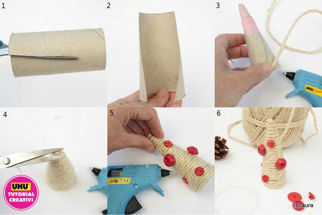 realizzare-un-alberello-di-natale-con-rotolo-di-carta-igienica-e-spago