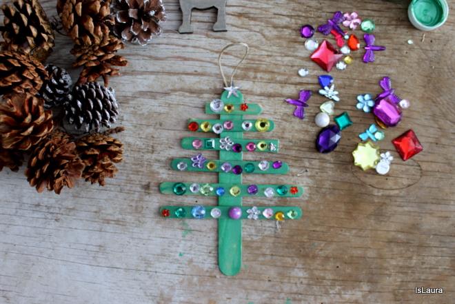 Lavoretti Di Natale Con Perline.Decorazioni Di Natale Con Legnetti E Strass Mamma Felice