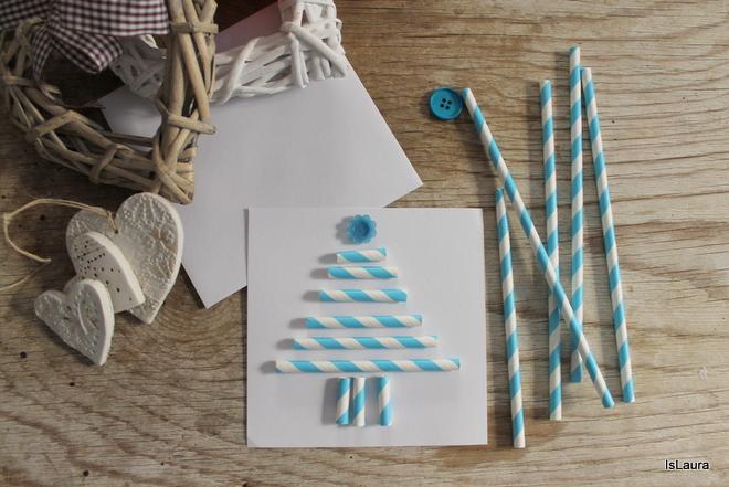 Albero Di Natale Con Cannucce Di Carta.Biglietti Di Auguri Con Le Cannucce Mamma Felice