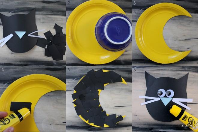 come-fare-un-gatto-halloween-riciclando-un-piatto-di-carta