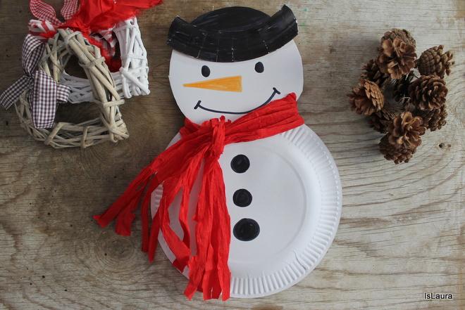Lavoretti Di Natale Con Piatti Di Plastica.Pupazzo Di Neve Con I Piatti Di Carta Mamma Felice