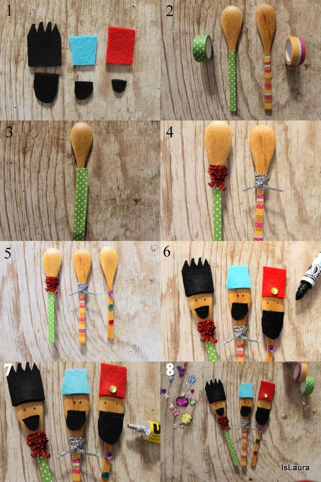 Lavoretti per la befana re magi con i cucchiai di legno - Cosa portano i re magi ...