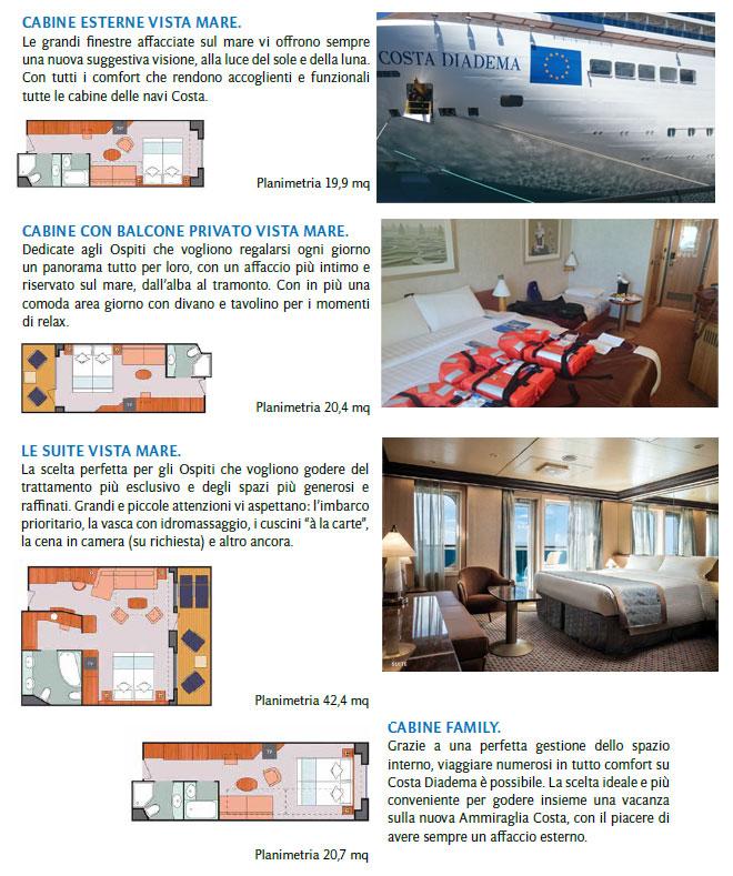 foto interni cabine costa diadema
