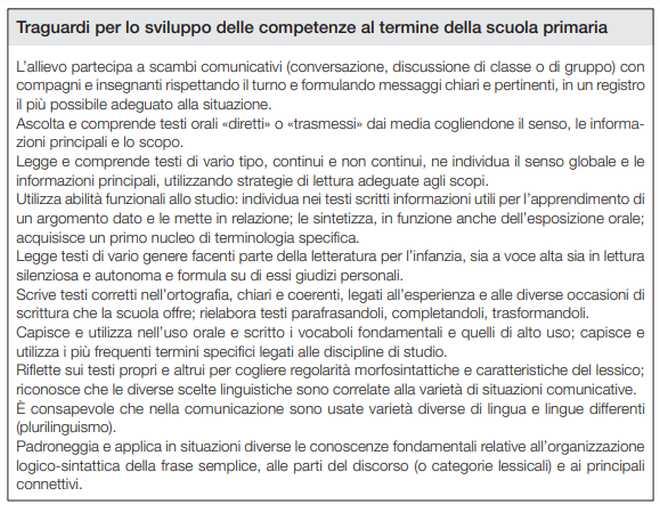 traguardi per lo sviluppo delle competenze al termine della scuola primaria