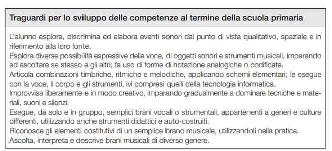 traguardi per lo sviluppo delle competenze di musica al termine della scuola primaria